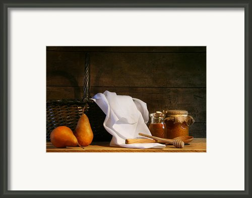 Two Pears With White Cloth Framed Print By Sandra Cunningham
