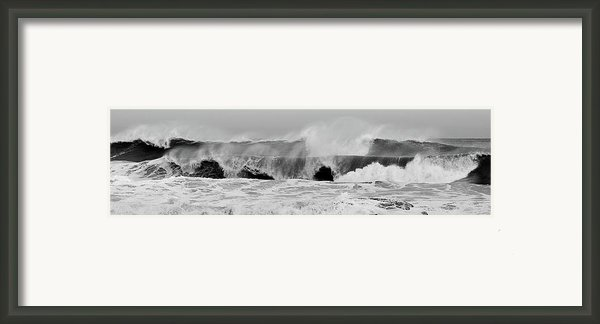 Two Waves Are Better Than One - Jersey Shore Framed Print By Angie Tirado
