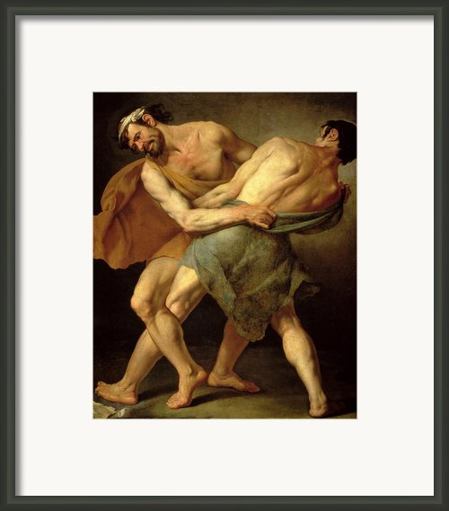 Two Wrestlers Framed Print By Cesare Francazano
