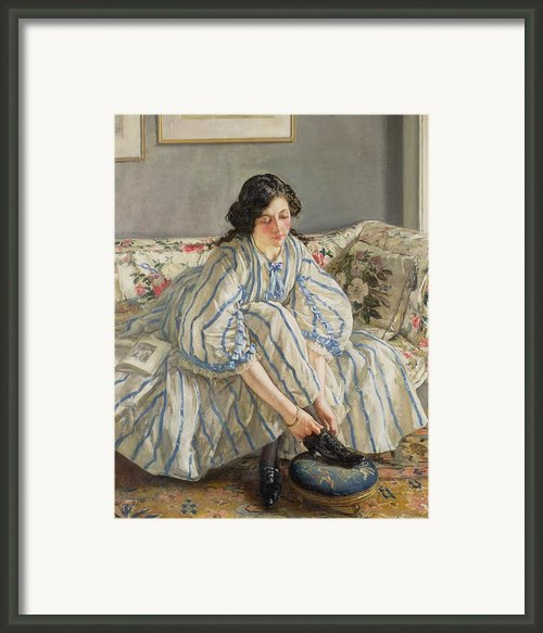 Tying Her Shoe Framed Print By Sir Walter Russell