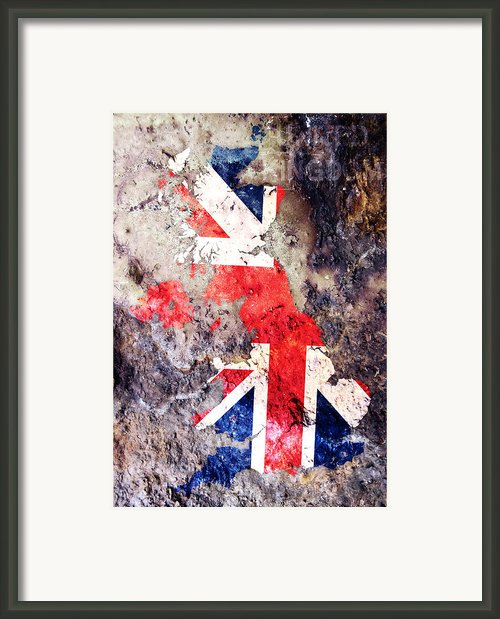Uk Flag Map Framed Print By Michael Tompsett