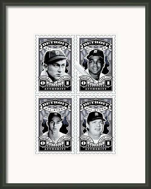 Umgx Vintage Studios Detroit All-stars Combo Stamp Art Poster Framed Print By David Cook