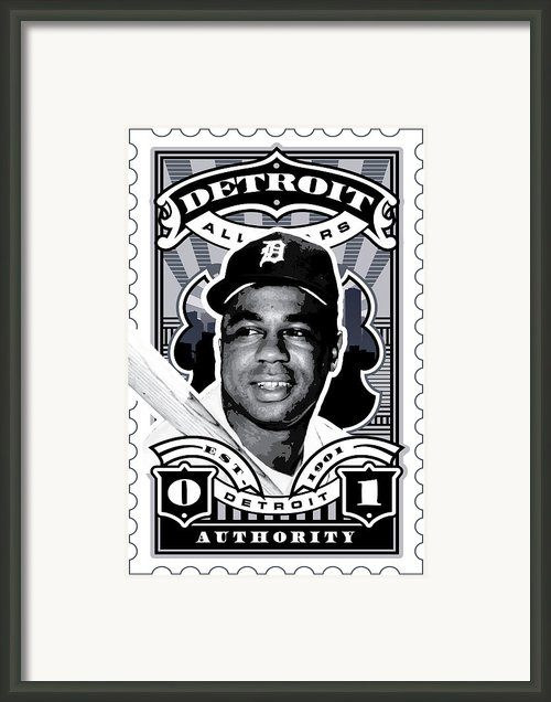 Umgx Vintage Studios Willie Horton Detroit All-stars Illustrated Stamp Art Poster Framed Print By David Cook