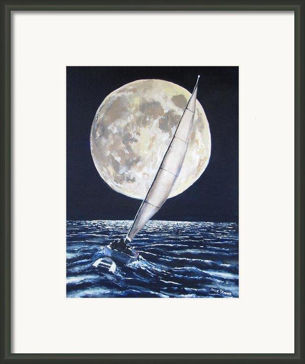 Under Full Sail..under Full Moon Framed Print By Jack Skinner