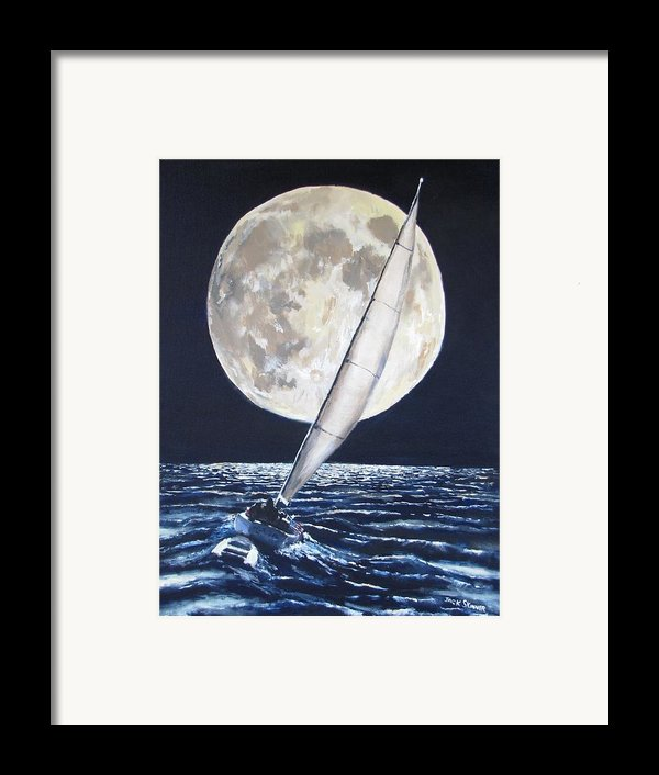 Under Full Sail..under Full Moon Framed Print By Jack Skinner