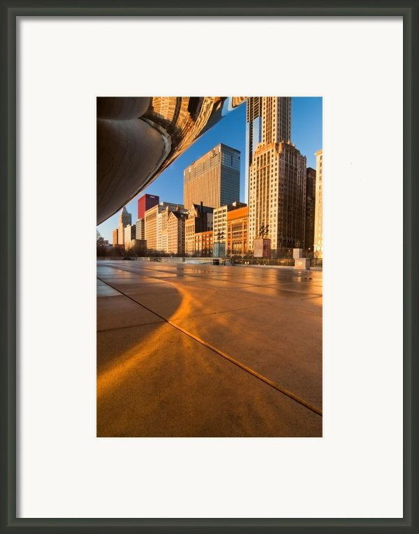Under The Bean And Chicago Skyline At Sunrise Framed Print By Sven Brogren