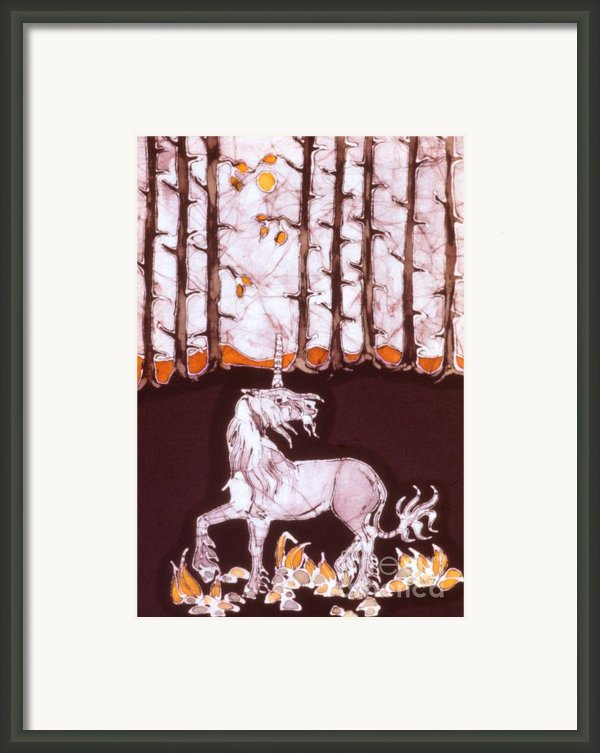 Unicorn Below Trees In Autumn Framed Print By Carol  Law Conklin