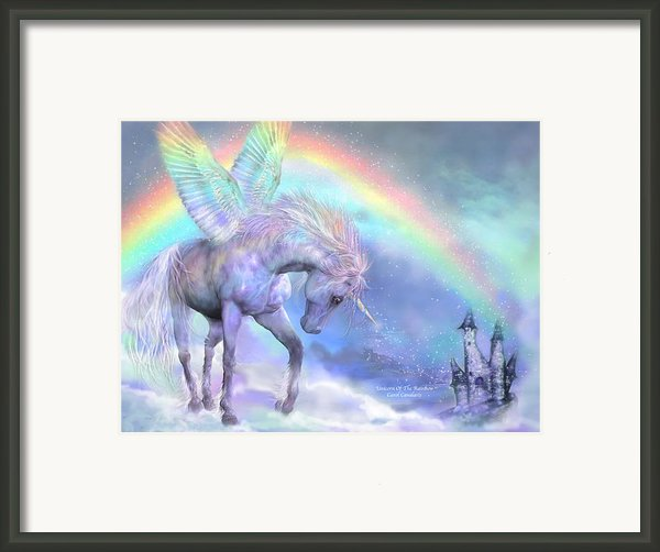 Unicorn Of The Rainbow Framed Print By Carol Cavalaris