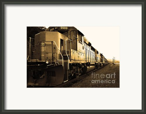 Union Pacific Locomotive Trains . 7d10588 . Sepia Framed Print By Wingsdomain Art And Photography