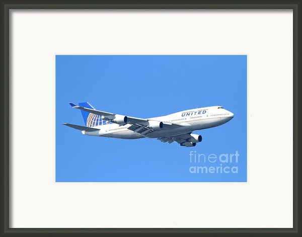 United Airlines Boeing 747 . 7d7850 Framed Print By Wingsdomain Art And Photography