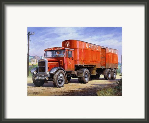 United Dairies Scammell. Framed Print By Mike  Jeffries