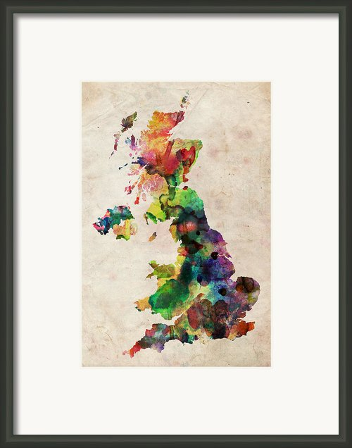 United Kingdom Watercolor Map Framed Print By Michael Tompsett