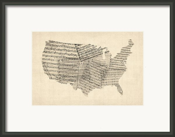 United States Old Sheet Music Map Framed Print By Michael Tompsett