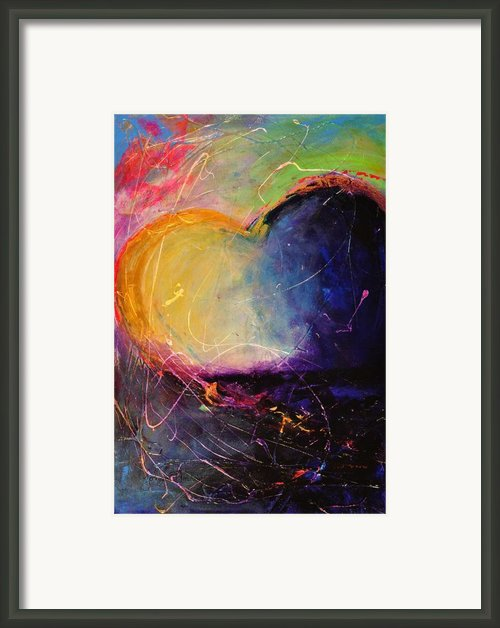 Unrestricted Heart Sunset Colors Framed Print By Johane Amirault