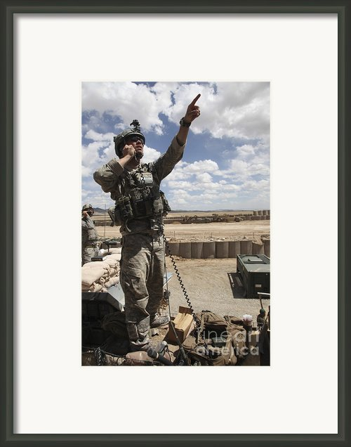 U.s. Air Force Member Calls For Air Framed Print By Stocktrek Images