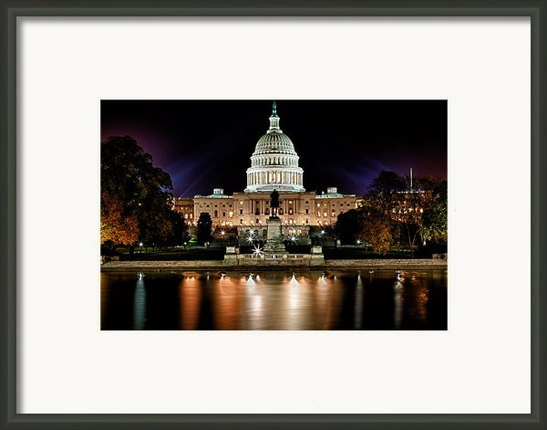 Us Capitol Building And Reflecting Pool At Fall Night 3 Framed Print By Val Black Russian Tourchin