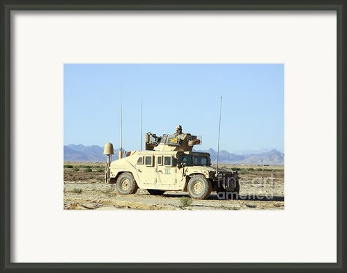 U.s. Marine Standing Ready Framed Print By Stocktrek Images