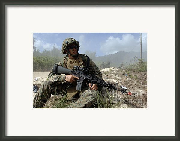 U.s. Marine Takes Part In An Amphibious Framed Print By Stocktrek Images