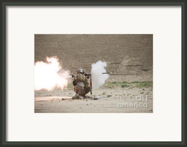 U.s. Marines Fire A Rpg-7 Grenade Framed Print By Terry Moore