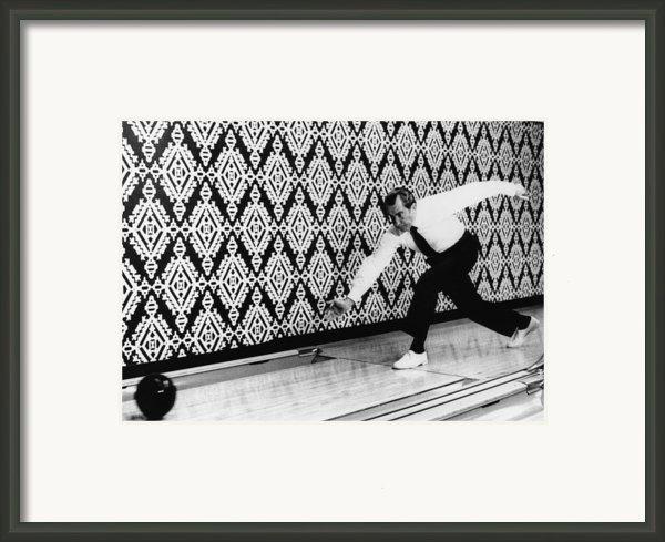 U.s. President Richard Nixon, Bowling Framed Print By Everett