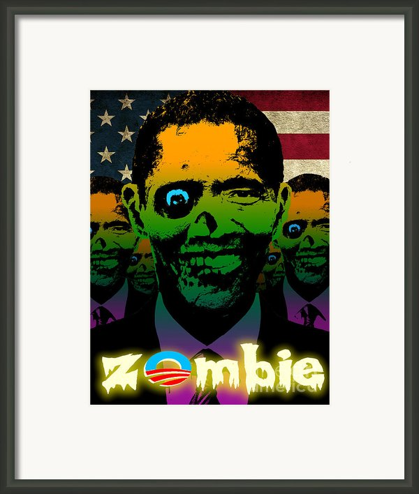 Usa Flag Zombie Obama Horde Framed Print By Robert Phelps