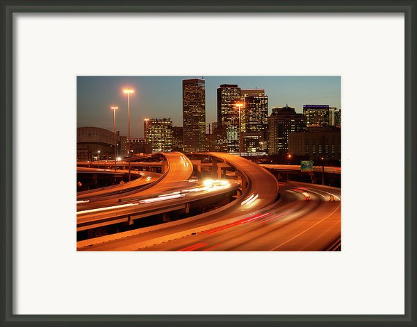 Usa, Texas, Houston City Skyline And Motorway, Dusk (long Exposure) Framed Print By George Doyle