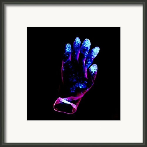 Used Surgical Glove, Negative Image Framed Print By Kevin Curtis