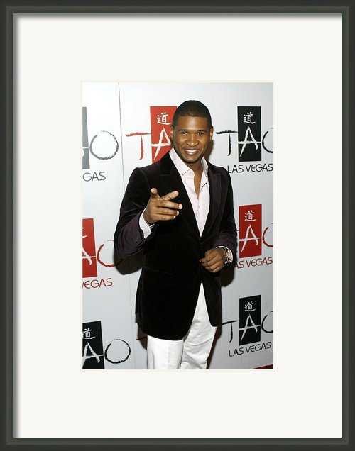 Usher At Arrivals For Tao New Years Eve Framed Print By Everett