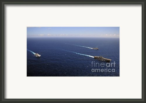 Uss Boxer, Uss Comstock And Uss Green Framed Print By Stocktrek Images