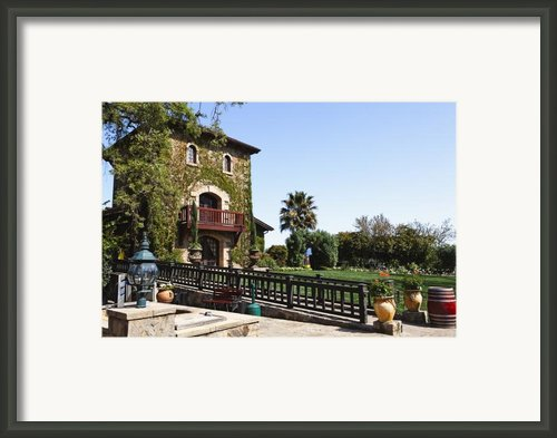 V Sattui Winery Building Napa Valley California Framed Print By George Oze