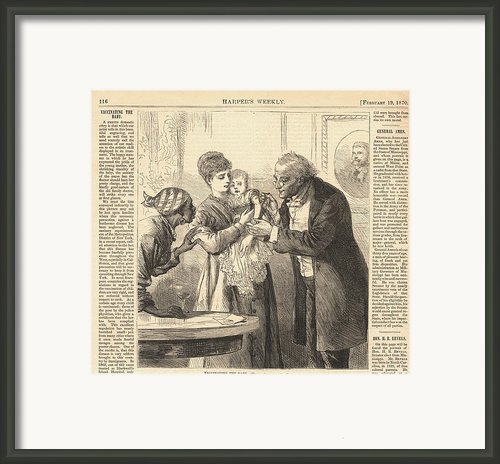 Vaccinating The Baby Against Smallpox Framed Print By Everett
