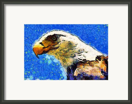 Van Gogh.s American Eagle Under A Starry Night . 40d6715 Framed Print By Wingsdomain Art And Photography