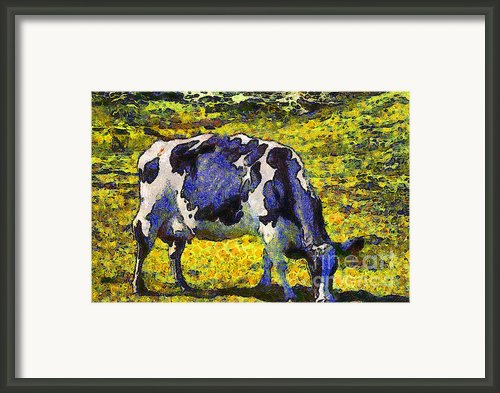 Van Gogh.s Starry Blue Cow . 7d16140 Framed Print By Wingsdomain Art And Photography