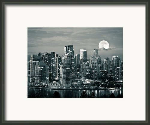 Vancouver Moonrise Framed Print By Lloyd K. Barnes Photography