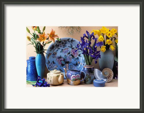 Vase And Plate Still Life Framed Print By Garry Gay