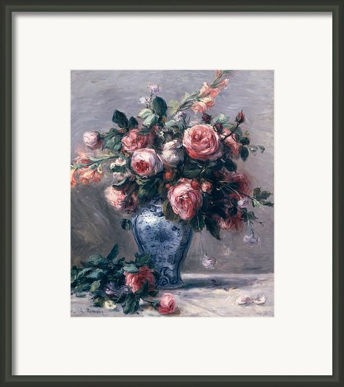 Vase Of Roses Framed Print By Pierre Auguste Renoir