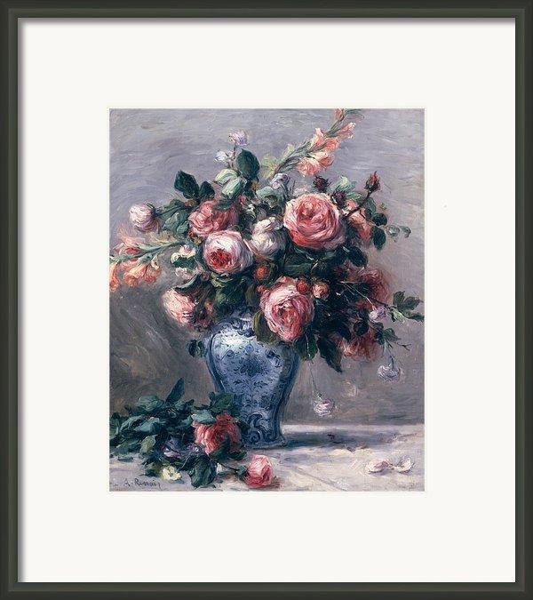 Vase Of Roses Framed Print By Pierre Auguste Renoir