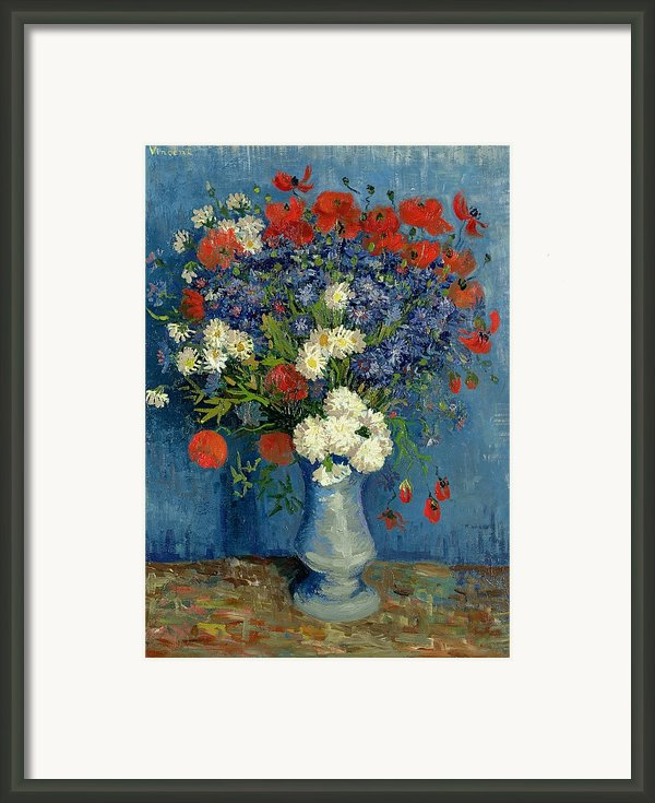 Vase With Cornflowers And Poppies Framed Print By Vincent Van Gogh