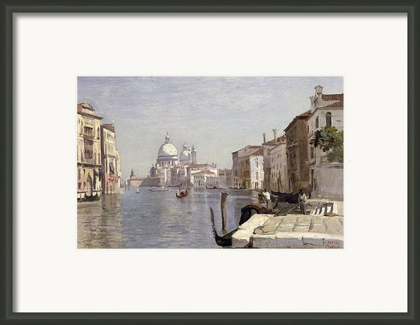 Venice - View Of Campo Della Carita Looking Towards The Dome Of The Salute Framed Print By Jean Baptiste Camille Corot