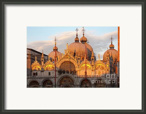Venice Church Of St. Marks At Sunset Framed Print By Heiko Koehrer-wagner