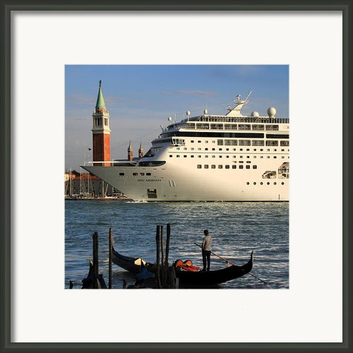 Venice Cruise Ship 2 Framed Print By Andrew Fare