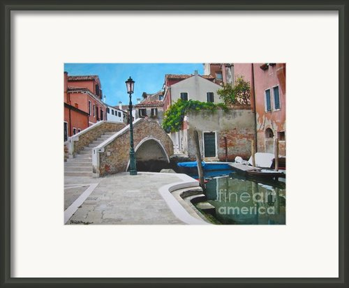 Venice Piazzetta And Bridge Framed Print By Italian Art- Angelica