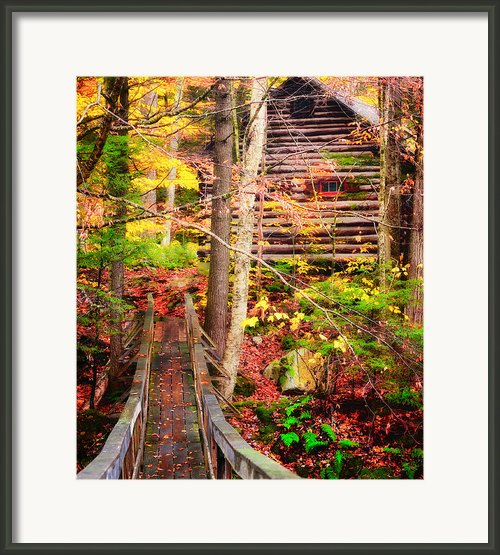 Vermont Hideout - Footbridge Over Roaring Brook Framed Print By Thomas Schoeller