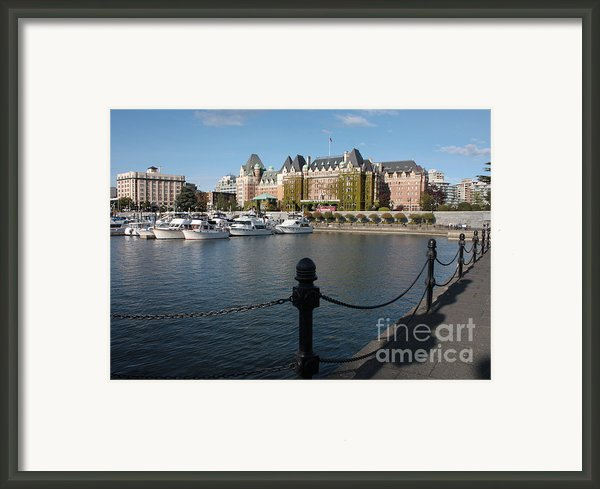 Victoria Harbour With Railing Framed Print By Carol Groenen
