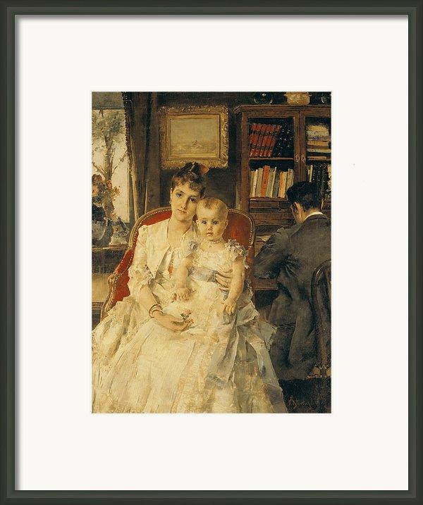 Victorian Family Scene Framed Print By Alfred Emile Stevens