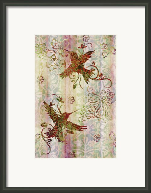 Victorian Humming Bird Pink Framed Print By Jq Licensing