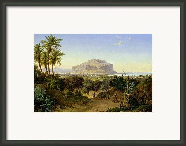 View Of Palermo With Mount Pellegrino Framed Print By August Wilhelm Julius Ahlborn