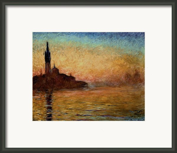 View Of San Giorgio Maggiore Venice By Twilight Framed Print By Claude Monet