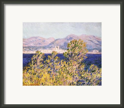 View Of The Cap Dantibes With The Mistral Blowing Framed Print By Claude Monet