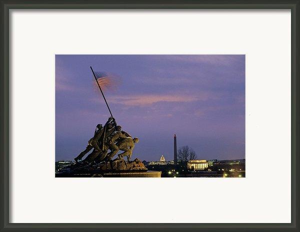 View Of The Iwo Jima Monument Framed Print By Kenneth Garrett